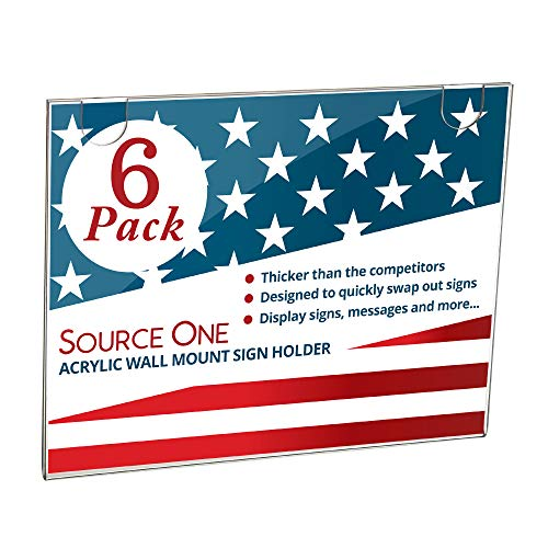 Source One Acrylic Wall Mount Sign Holder, 8.5 x 11 inches Clear Plastic Frame Horizontal and Portrait Options Available (6 Pack, Landscape)