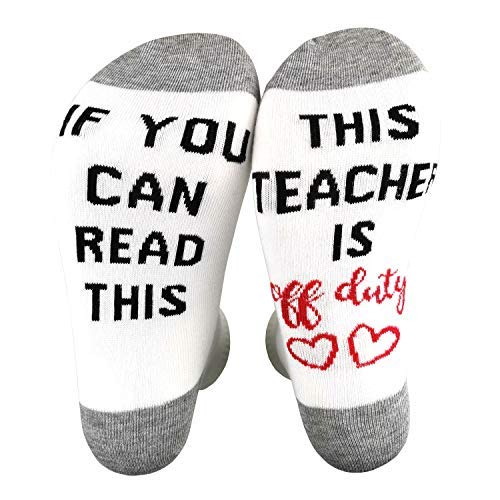 Unisex Crew Socks If You Can Read This Teacher Is Off Duty Funky Socks Teacher's Gift for Holiday