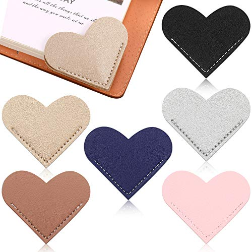 6 Pieces Leather Heart Bookmark Heart Page Corner Handmade Bookmark Leather Reading Cute Bookmarks Accessories for Women Bookworm Present Book Lovers (Elegant Color)