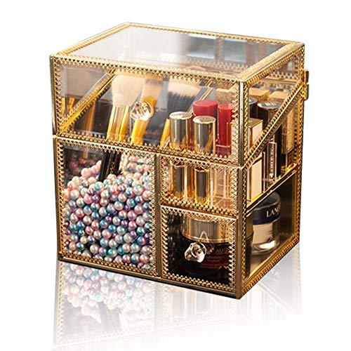 Vanity Dresser Schmuckkasten mit 3 Fächern mit weißer Perle und Deckel für die Hand, Make-up, Organizer aus Glas, Aufbewahrung für Kosmetik