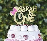 Décoration de gâteau personnalisée Minnie Mouse rose et doré pour un premier anniversaire