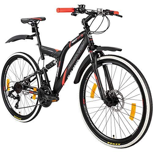 Galano 26 Zoll MTB Fully Volt DS Mountainbike Scheibenbremsen Jugendfahrrad (schwarz/rot)
