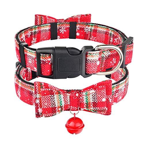 DSJTCH Navidad Collar de Bell Perro Tela Mujer Hombre Perrito del Animal doméstico de la Pajarita Ajustable XS-L (Color : Red with Bell, Size : S 26 39cm)