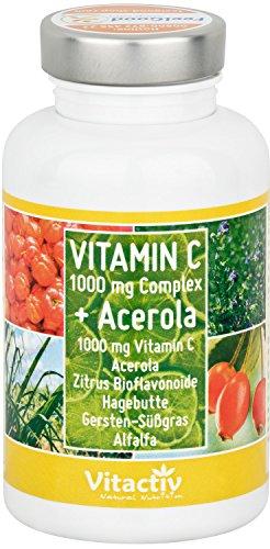 Hochdosiertes natürliches Vitamin C, maximale Stärke 1000mg, Time-Released Effekt, zeitverzögerte Abgabe, mit Kalzium-Ascorbat, Acerola, Hagebutte und Gersten-Süßgras, 100 Tabletten (100 Tage)