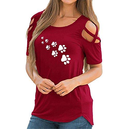 ❤️ Tops damen sommer,Loveso Damen Sommer Loses Kalte Schulter Kreuz und quer Kurzarm T-Shirt Rundhals mit Hund Fußabdruck Blumen Casual Oberteil Tops Bluse Shirt (b-Rot❤️, M)