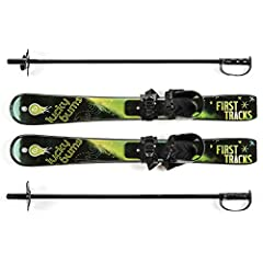 IDEAL FOR BEGINNERS - Introductory set of skis and poles for little learners age 4 and under. RUGGED DESIGN - Includes flexible bindings that allow heel lift and accommodate most snow boots or shoes. IMPROVED TRACTION - Include scales on the bottom o...