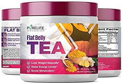 PureLife Organics - Flat Belly Tea - Boost Energy - 6.3 ounces - Superfood Infused, Support Healthy Fat-Burning Metabolism, Accelerate Weight Loss