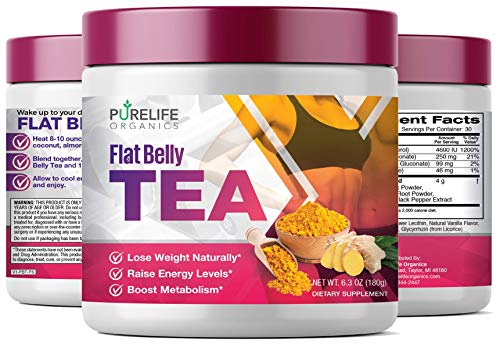 PureLife Organics - Flat Belly Tea - Boost Energy - 6.3 ounces - Superfood Infused, Cleansing Formula for Metabolism Support