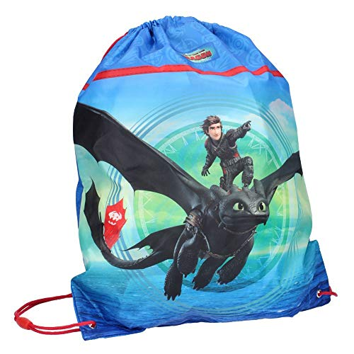 Dragons Sportbeutel | DreamWorks 43 x 36 cm | Turnbeutel Groß | Tasche Schule