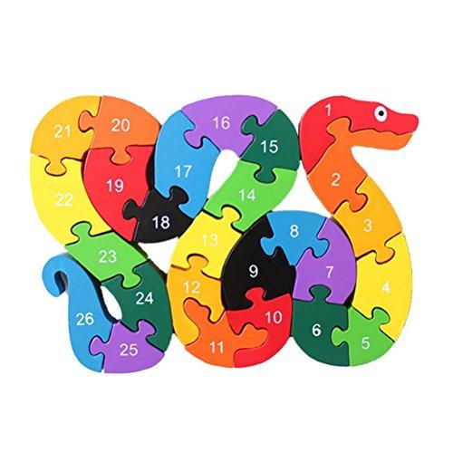 Pixnor Enfants en bois de A à Z Alphabet Puzzles Jeux éducatifs Intelligence jouets serpent jouet cadeau