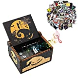 POYWALE Christmas Music Box with Halloween Stickers 50pcs, Hand Crank Halloween Musical Boxes and Waterproof Vinyl Cartoon Sticker