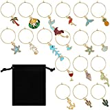 18 Pieces Wine Glass Charms Markers Tags Summer Beach Theme with Rich Elements for Wine Champagne Cocktail Favors Decorations Bachelorette Tasting Party Include Velvet Bags