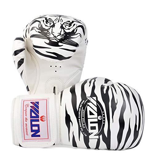 XINTD Boxhandschuhe 10 Unzen 8 Unzen Sparring Professionelle Tiger-Muster MMA Muay Thai Kickboxing Training Kampf Punch Handschuhe Lederhandschuhe,White,10oz