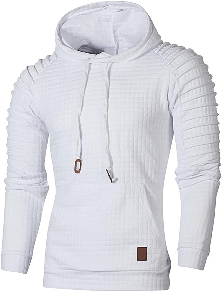 Men's Hoodies Pullover, Mens Fall Winter Casual Raglan Sleeves Solid Color Sports Outwear Hooded Sweatshirts with Pocket