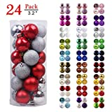 "GameXcel Christmas Balls Ornaments for Xmas Tree - Shatterproof Christmas Tree Decorations Large Hanging Ball Silver & Red 3.2"" x 24 Pack"