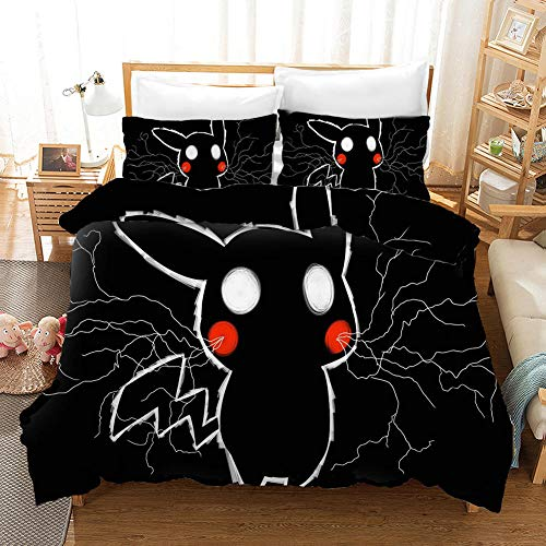 Duvet Cover King Size 240 x 220 cm with 2 Pillowcases 50 x 75 cm Bedding 3-piece set by Microfiber with Zipper Pokemon printing Duvet Cover set