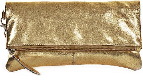 CNTMP, Damen Handtaschen, Clutch, Clutches, Clutchbags, Unterarmtaschen, Partybags, Trend-Bags, Metallic, Leder Tasche, 25x13x2,5cm (B x H x T), Farbe:Gold