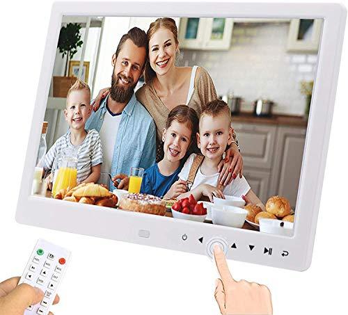 UCMDA Marco de Fotos Digital 12 pulgunda Marco Digital Full HD 1280x800, Música/Video/Calendario/Despertador, Marco Digital Foto Vídeo con Control Remoto, Blanco