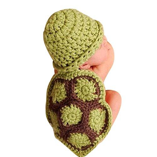 QinMM Bebé recién Nacido Accesorios de Fotos Disfraz Punto Crochet Tortuga Forma Beanie Sombrero Gorra Traje para niño niña