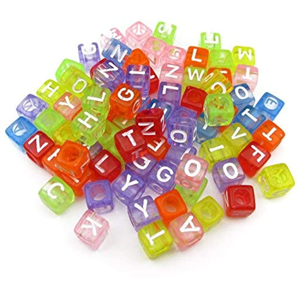 """ALL in ONE 1000pcs Mixed Acrylic Letter/Alphabet """"A-Z""""Cube Beads for DIY Craft (Transparent Multicolor 6x6x6mm)"""