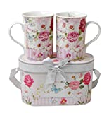Lightahead Elegent Bone China 2 Coffee Tea Mugs set floral Design in attractive gift box 11 oz each