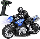 Click N' Play Cross Country High Speed RC Remote Control Stunt Motorcycle with Riding Figure (Blue)