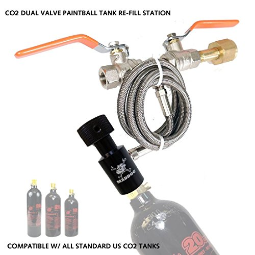 Maddog Paintball CO2 Fill Station, CO2 Dual Valve Bottle Refill Station for 12oz, 16oz, 20oz, CO2 Tanks