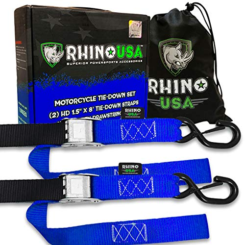 Read About RHINO USA Motorcycle Tie Down Straps (2 Pack) Lab Tested 3,328lb Break Strength, Steel Ca...