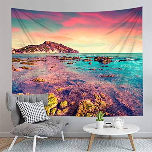 NAIDELI Nice Scenery Wall Hanging Carpet Landscape Tapestry Sea Beach Cloth Mat Flower Blanket Home Decoration
