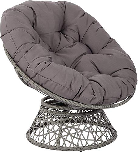 Zairmb Round Papasan Chair Cushion Removable Wicker Swing Chair Seat Cushion Soft Cotton Hanging Egg Chair Pads Outdoor Patio-130cm(51Inch) Gray