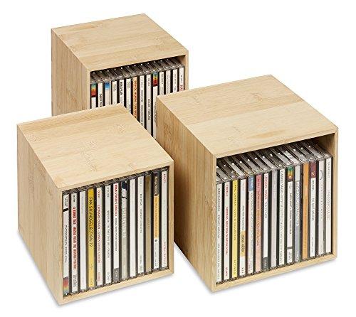cubix CD-Box bambus, CD-Aufbewahrungs-Boxen aus Holz. Set mit 3 Boxen. Zur Aufbewahrung von bis zu 40 CDs.