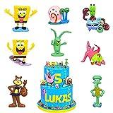 Mini Juego de Figuras Decoración para Tartas BESTZY SpongeBob Cake Topper Juguetes Baby Shower Fiesta de cumpleaños Pastel Decoración Suministros, 8pcs