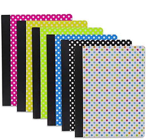 Emraw Polka Dot Composition Book Personal Notebook Wide Ruled Paper Diary 100 Sheets Office Planner Journal School Writing Book Assorted Colors (Pack of 6)
