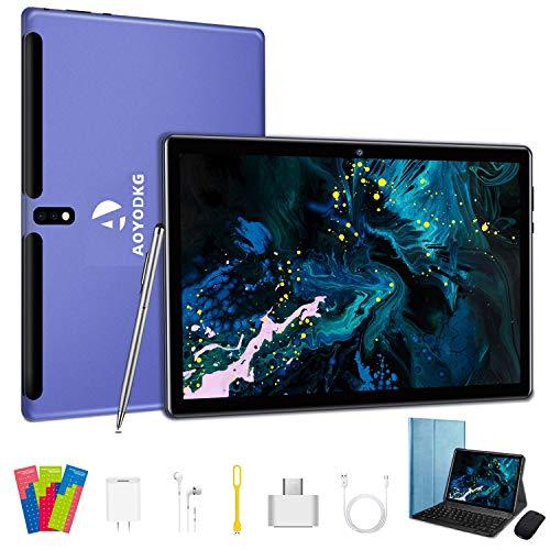 Tablet 10 pollici Android 10.0 4G LTE Quad-Core 4GB RAM 64GB ROM, Dual WiFi, Dual SIM, Bluetooth, GPS,128GB Espandibili, supporto Alla Dad- Azul