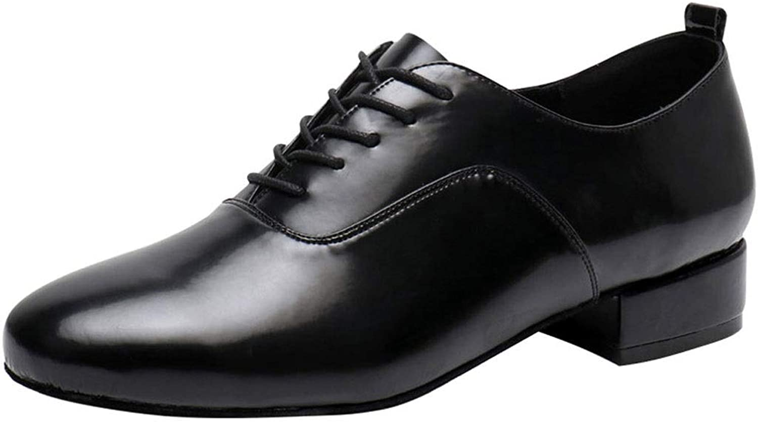 Men's Oxfords Perforated Lace Up Dress shoes Black Men's Classic Lace-up Leather Dance shoes Modern Dancing shoes Heel 3.5cm (color   Suede sole, Size   38)