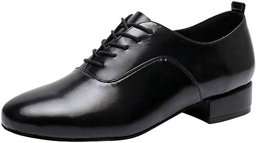 Chaussures habillées à lacets pour hommes hommes hommes noires, chaussures de danse classiques en cuir à lacets pour hommes, chaussures de danse modernes à talons de 3,5 cm ( Couleur   Suede sole , taille   38 ) 617
