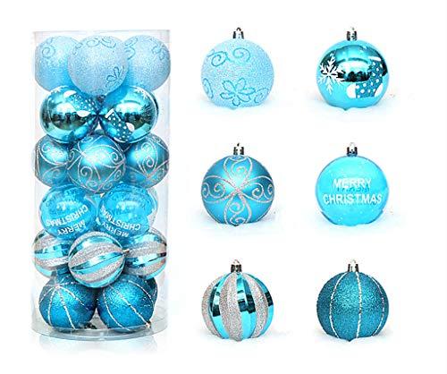 Kinteshun Christmas Ball Baubles,2.4' Shatterproof Glitter Powder Painting Hang Balls Pendant for Xmas Tree Decoration(24pcs,Light Biue)
