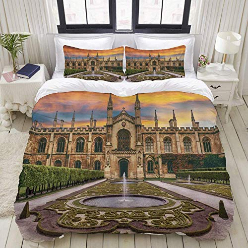 Duvet Cover,Gothic Retro Architecture United Kingdom Cambridge University King's College Chapel Church,Bedding Set Ultra Comfy Lightweight Luxury Microfiber Sets