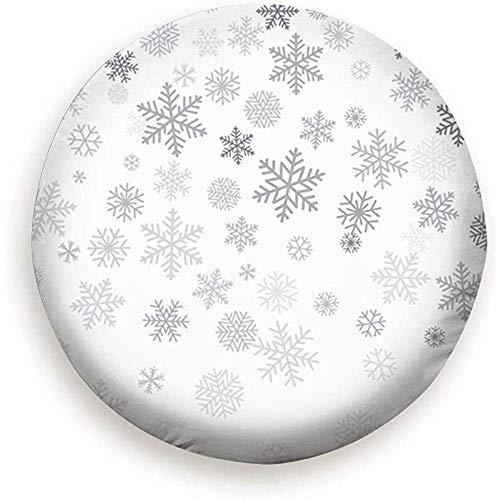 Not Applicable Funda para Rueda De Repuesto Christmas Snowflakes Place Text Winter Snowflake Holidays Cubierta De Llanta De Refacción, Protectores De Ruedas Impermeables A Prueba De Polvo 17INCH