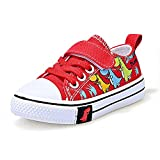 CozystepToddler Boys Girls Slip On Canvas Sneakers Little Kid Unisex Adjustable Strap Walking Shoes Lazy Shoes with Cartoon Hook and Loops (Dinasour Red, Numeric_8)