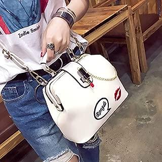WTYD Single Shoulder Bag Embroidered Lipstick Doctor Bag Ladies Shoulder Bag Red Lip Handbag, Size: L (Black) (Color : White)