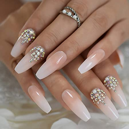 Amazon Com Luxury Coffin Nails With Ab Rhinestones Ombre French Nail With Stones Long False Nails Natural Color Designed Beauty