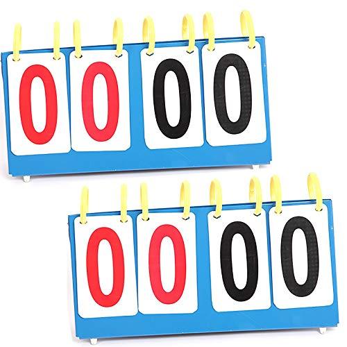 MICEROSHE Marcador Multifuncional Puntuación de Baloncesto Puntuación de 4 dígitos/Conjuntos de Placa de 6 dígitos Marcadores de Juego Flip-Shot (2 Piezas) Suministros de Competencia