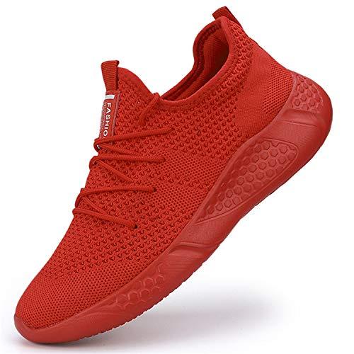 BUBUDENG Damen Turnschuhe Sportschuhe Freizeitschuhe Atmungsaktiv Laufschuhe Straßenlaufschuhe Sneaker Trainer für Outdoor Fitness Gym Walkingschuhe,Rot,EU 37