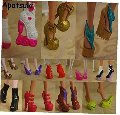Angoter 10pairs Bunte Accessoires Schuhe für Monster High Puppe Stiefel High Heel-Schuhe Sandalen für Monster Puppe Mix zufällige Farbe