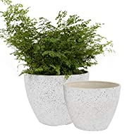 Unique Design in Two Sizes - Engage a modern minimalist style to match home decors and to display your plants. Adorn your outdoor and indoor areas: porch, patio, deck, balcony, living room, study room, kitchen etc. Size: Large-22cm D x17cm H; Small-1...