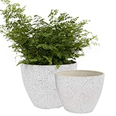 """Unique Design in Two Sizes - Engage a modern minimalist style to match home decors and to display your plants. Adorn your outdoor and indoor areas: porch, patio, deck, balcony, living room, study room, kitchen etc. Size: Large-8.6""""D x 6.7""""H; Small-7...."""