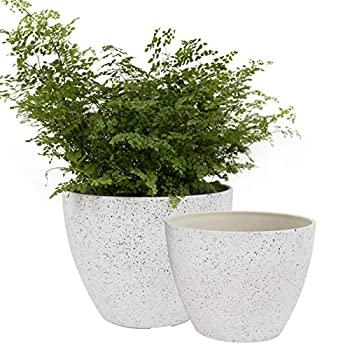 Flower Pots Outdoor Garden Planters Indoor Plant Pots with Drainage Holes Speckled White  8.6 + 7.5 Inch