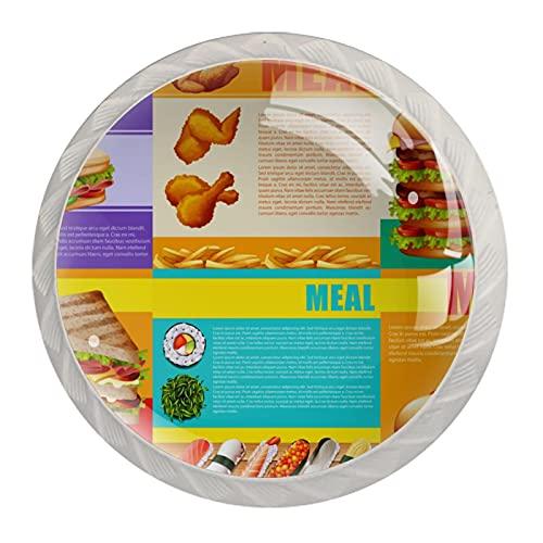 Infographic - Juego de 4 tiradores de armario de cocina para periódicos saludables y comida rápida