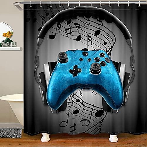 Cortina de baño para juegos de música, cortina de ducha con estampado de gamepad, auriculares negros y notas musicales, tela impermeable de microfibra con ganchos para puestos de baño, 72 x 72 l